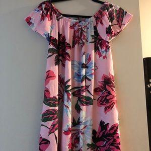 ASOS pink floral Bardot dress size 2